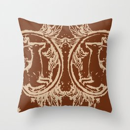 Chocolate Asheville Stags a Leaping Throw Pillow