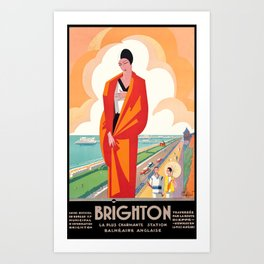 1921 Brighton English Seaside Resort Travel Poster Art Print