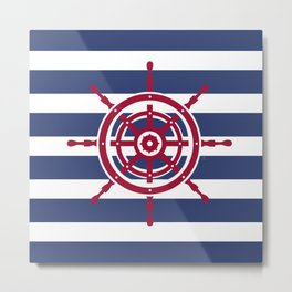 AFE Nautical Red Helm Wheel Metal Print