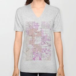 Vintage Map of Palm Springs California (1957) 2 Unisex V-Neck