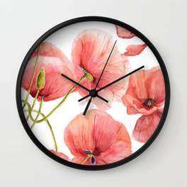 Red Poppies Bright Sunlight, Big Beautiful Red Flowers Wall Clock