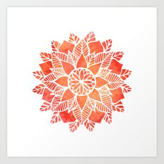 Orange Mandala Art Print