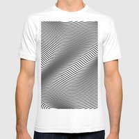 Bold Minimal Lines Mens Fitted Tee White MEDIUM