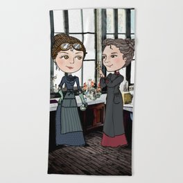 Woman in Science: The Curies Beach Towel