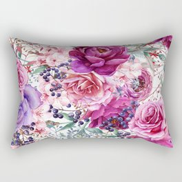 Roses and Peonies Collage Rectangular Pillow