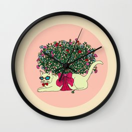 Colorful Hot Summer Cat with Bouquet of Flowers. Wall Clock