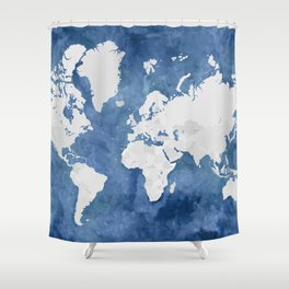 Navy blue watercolor and light grey world map with countries (outlined) Shower Curtain