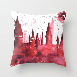 Hogwarts Watercolor Silhouette Throw Pillow