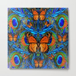 """FOR THE LOVE OF MONARCHS & BLUE PEACOCKS"" Metal Print"