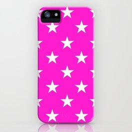 Stars (White/Hot Magenta) iPhone Case