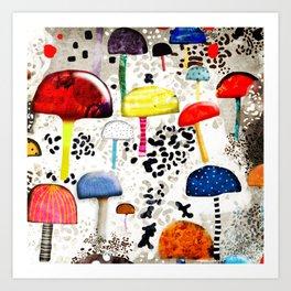Mein Ein, mein Alles - Mushrooms Abstract Botanical Art - cute animal print - Leopard Muster Art Print