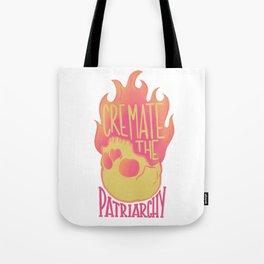 Cremate the Patriarchy orange Flaming Skull @mod_mortician Tote Bag