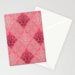 red&grey Baroque Pattern on gentle raspberry Stationery Cards