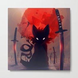 Crimson Cat Metal Print