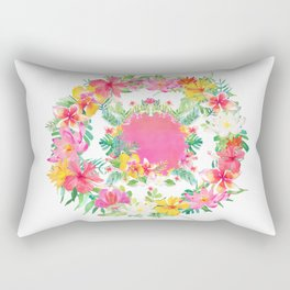 Aloha Tropical Flowers Circle Rectangular Pillow