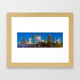 Houston Skyline at Dusk - Panoramic Cityscape Image Framed Art Print