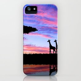 Lonely Tree And Giraffes Silhouette In African Savannah At Sunset Ultra HD iPhone Case