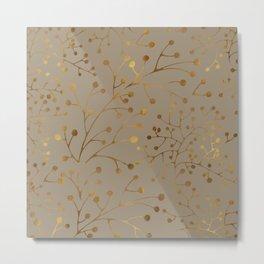 Tan & Gold Brunches Seamless Pattern Metal Print
