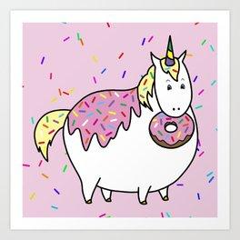 Chubby Unicorn With Colorful Doughnut Sprinkles Art Print
