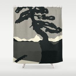 Baltic Coast Black and White Shower Curtain