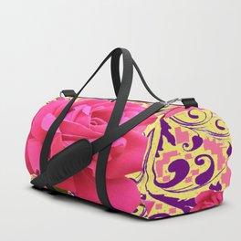 PINK ROSE FLOWERS ON  PINK & YELLOW FILIGREE Duffle Bag