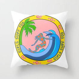 Girls Surf Too solid Throw Pillow
