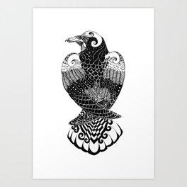 Black Crow Art, Black and White Raven Art, Tattoo Style Raven Art Print