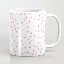 Girly Rose Gold Dots Confetti White Design Coffee Mug