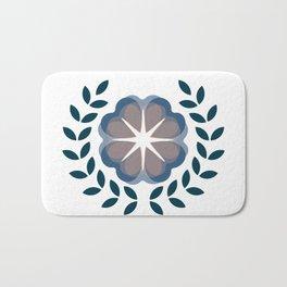 floral wreath // blue Bath Mat