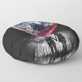 Red blue earth Floor Pillow