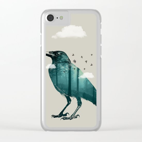 Teal Raven Clear iPhone Case