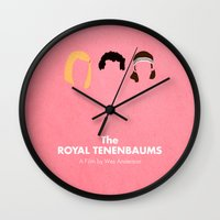royal tenenbaums Wall Clocks featuring The Royal Tenenbaums by Chay Lazaro