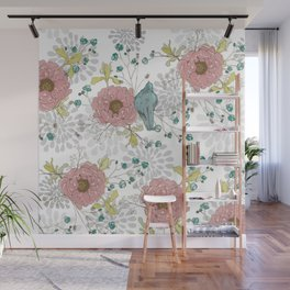 Blue Bird and Peonies Wall Mural