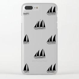 Black Sailboat Pattern Clear iPhone Case