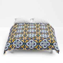 Yellow and Blue Moroccan Tile Comforters