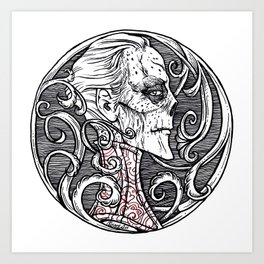 Erik Red Death - Black and White Version  Art Print