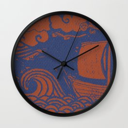 Bronze and Navy Lino-cut Wave and Boat Wall Clock