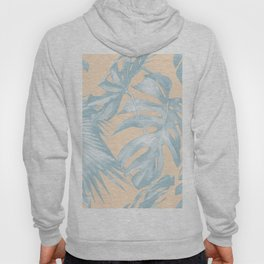 Tropical Plants Blue on Peach Coral Hoody