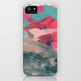 Sugar Rush [3]: a colorful, abstract mixed media piece in pinks, blues, and gold iPhone Case