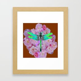 EMERALD DRAGONFLY PINK ROSES COFFEE BROWN Framed Art Print