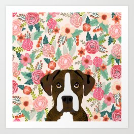 Boxer dog breed floral pattern background pet gifts dog breed dog mom gifts Art Print