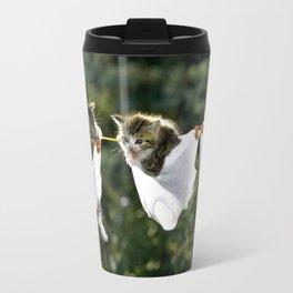 Kittens in underwear on clothesline Travel Mug