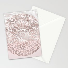 Rose gold mandala - blush pink & marble Stationery Cards
