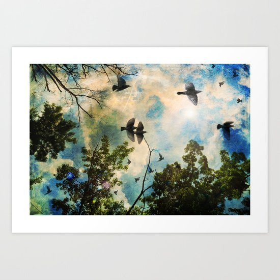 Birds filled the sky Art Print