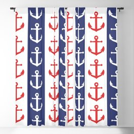 Nautical Sailor Stripes with Anchor Pattern Blue and Red 241 Blackout Curtain
