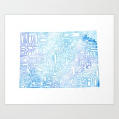 Typographic Colorado - blue watercolor Art Print