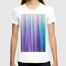 Abstract Purple and Teal Gradient Stripes Pattern T-Shirt