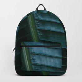 Botanical photography print | Dark green tropical leaf of a palm | Jungle Wanderlust art Backpack