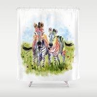zebra Shower Curtains featuring Zebra by Anna Shell