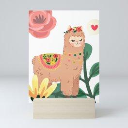 Lama in love Mini Art Print